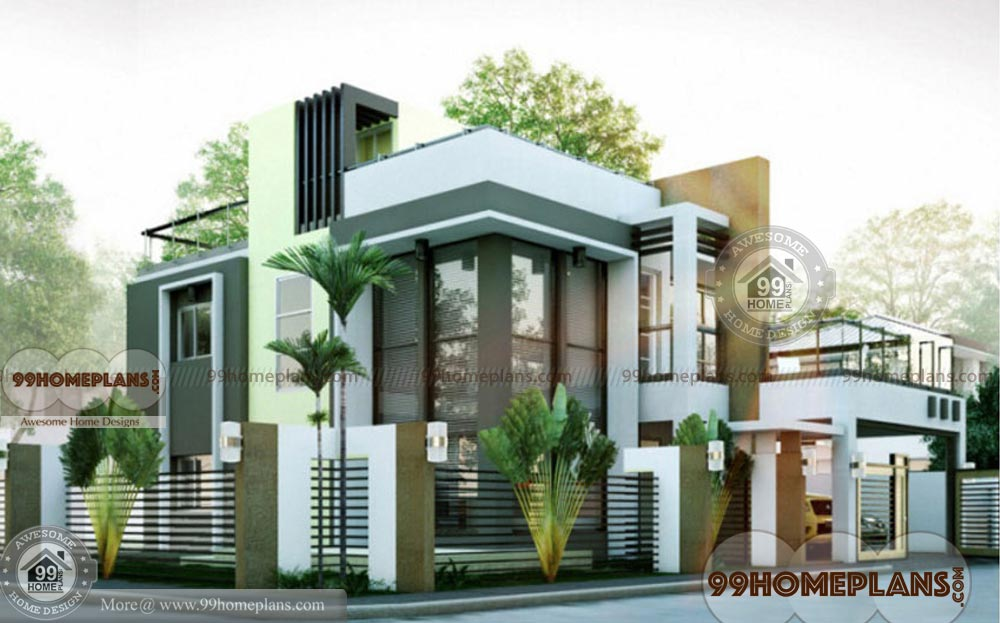 Modern box type house design free home plan elevations 2 for House photos and plans