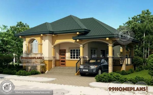 Modern bungalow house plans home elevation single story for Single storey bungalow design