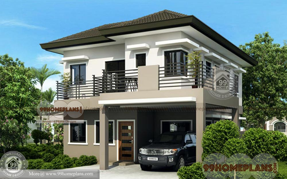 traditional house plans 4 bedroom 2 story home plan elevation ideas - Download Small House Design 2 Storey With Rooftop Pics