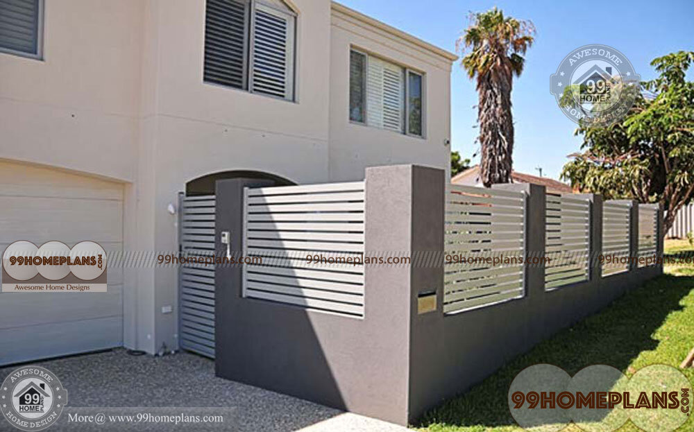 Boundary wall design with gate with new perfect pretty for Wall gate design homes