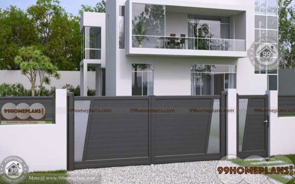 House main gates design ideas with combined with steel and for Main front house design