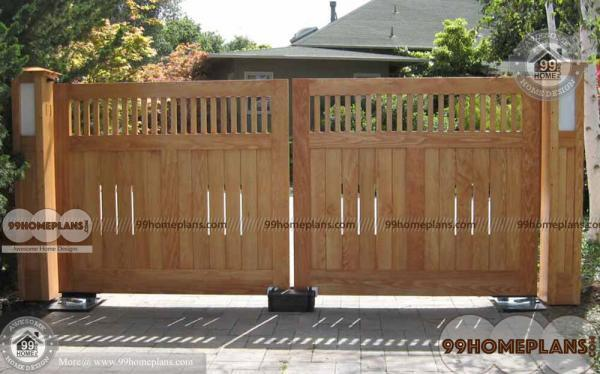 Main gate design for house ideas with modern wooden house gates for Wooden main gate design for home