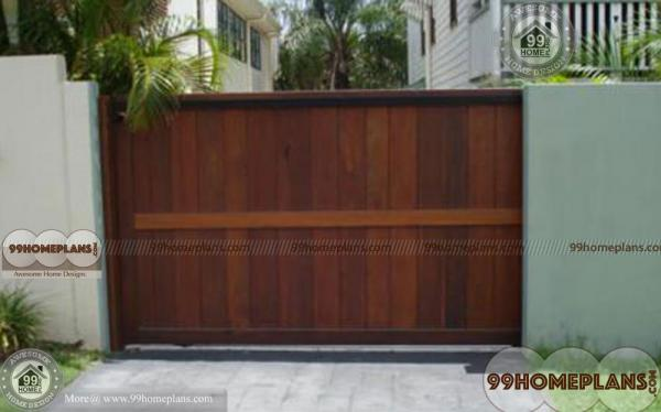 Simple main gate design ideas with modern wooden classic for Wooden main gate design