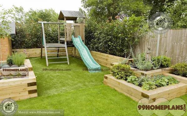 Very Small Garden Ideas with Kids Play & Sitting Areas and Green Grass