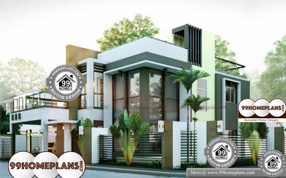 Modern Box Type House Design -Free Home Plan Elevations 2 Story Cute