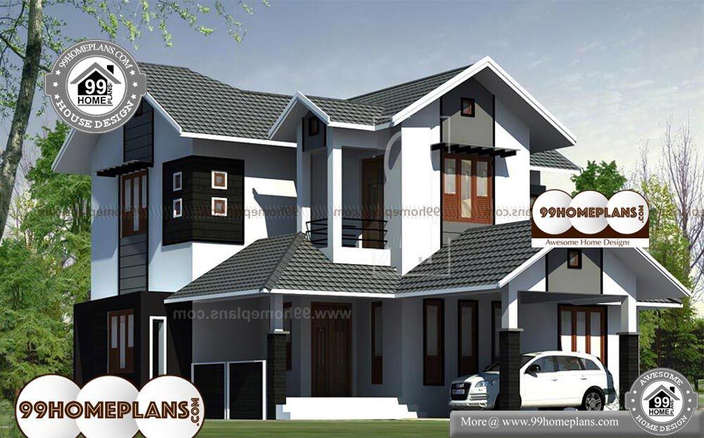 4 Bedroom House Plans Kerala Style Architect - 2 Story 1700 sqft-Home