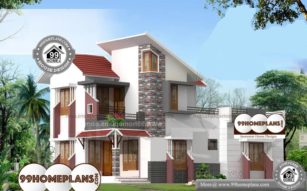 Sloping Roof House Designs - 2 Story 1691 sqft-Home