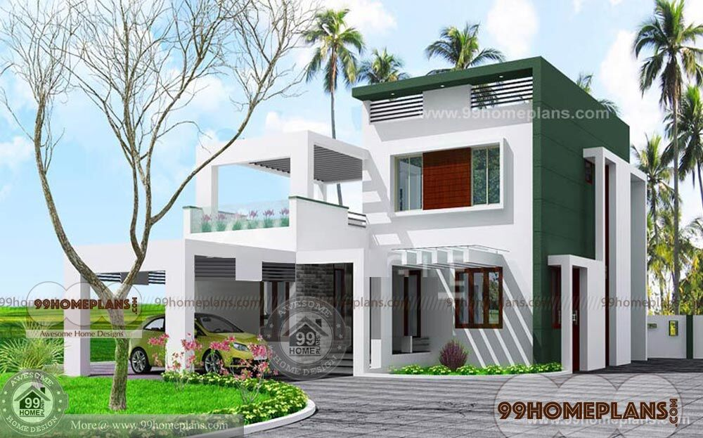 Box type house front elevation 2 floor home plans best for House elevation for three floors building