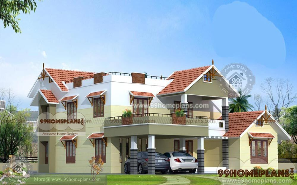 Double Story House Elevation Kerala : Kerala house designs and floor plans home elevations