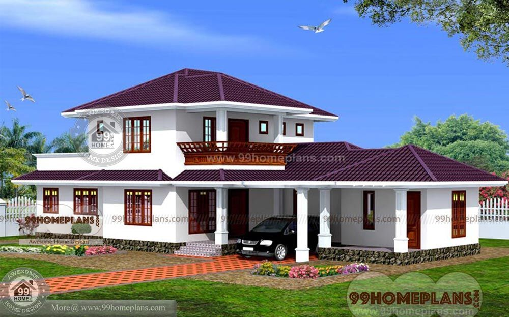 Sloped Roof Front Elevation Home Plan Designs Double Story House