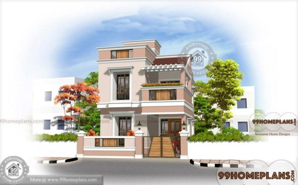 Small Apartment Plans - Home Plan Elevation - Two Story Fats & Houses