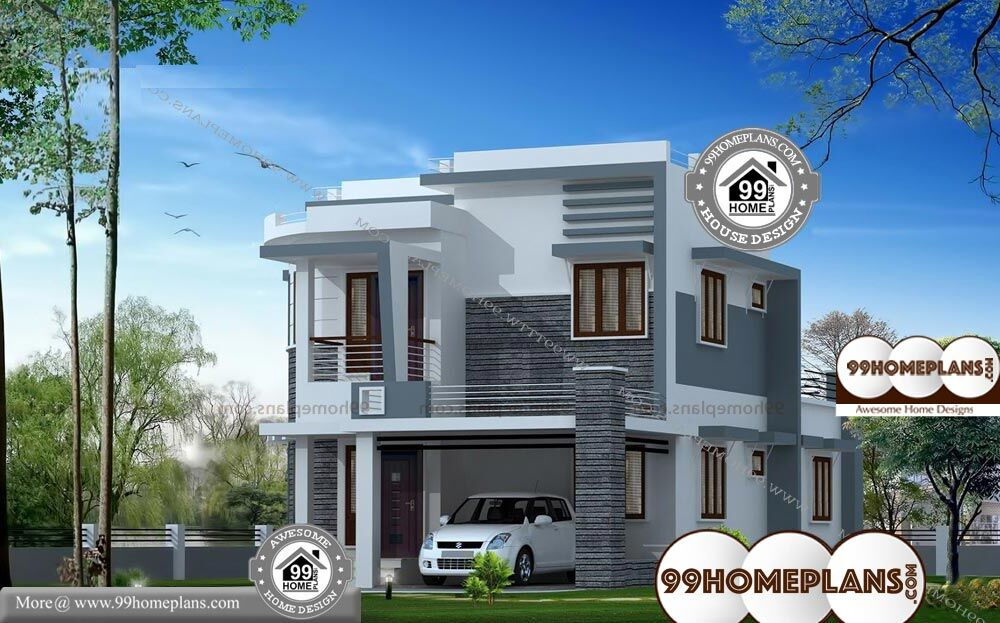 Front Designs Of Indian Houses - 2 Story 1650 sqft-Home