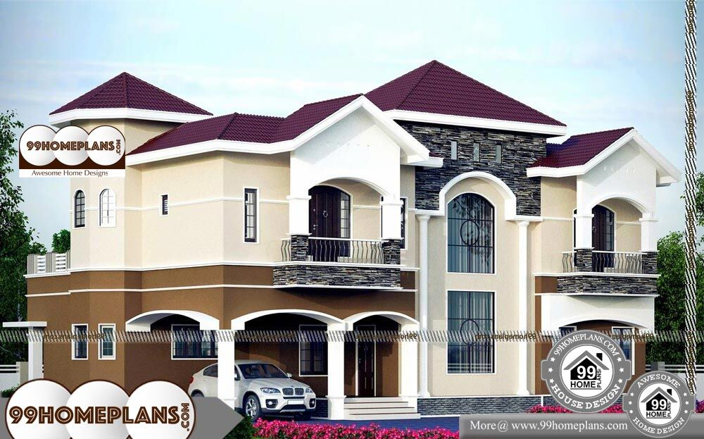 Indian Home Elevation Design Photo Gallery - 2 Story 3518 sqft-Home