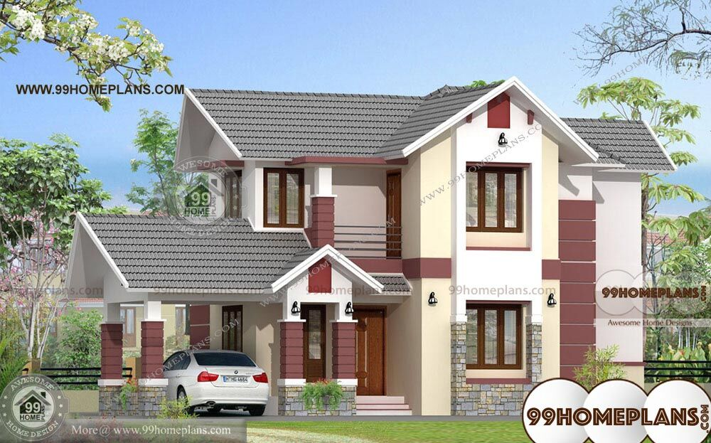 Bungalow With Attached Garage With Double Story Home Plan