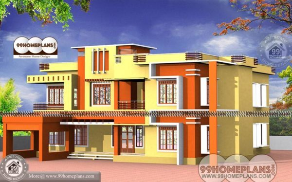 Design Of House Front View With Low Economical Double Floor Homes