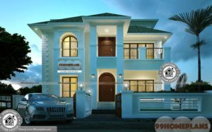Different Types Of Houses Drawing Double Floor Affordable Villa Plan Idea