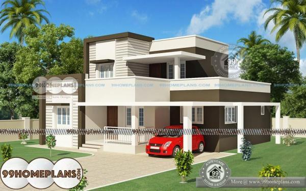 Indian house design front view with double story cute low for Indian house front view
