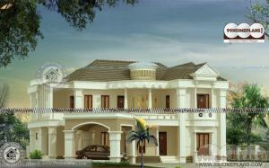 Indian Model House Plan Design with Grand Big Luxurious Home Elevation