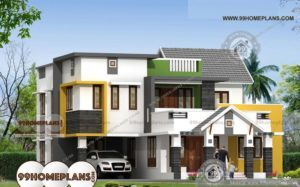 South Indian Home Models with Two Story House Elevations External Plan