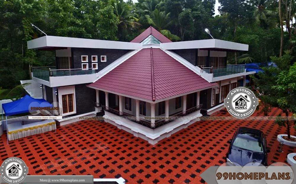 Wide frontage house plans two floor kerala made styles for Wide frontage house plans