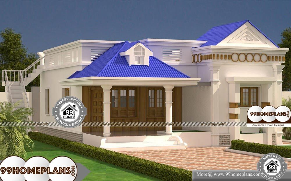 1 Story Modern House Plans - Single Story 1163 sqft-Home