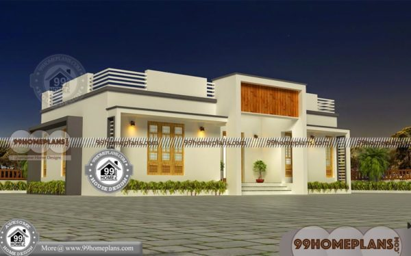 1 story floor plans with simple and small flat roof modern home design 600x374 - Download Simple Modern House Design 1 Floor PNG