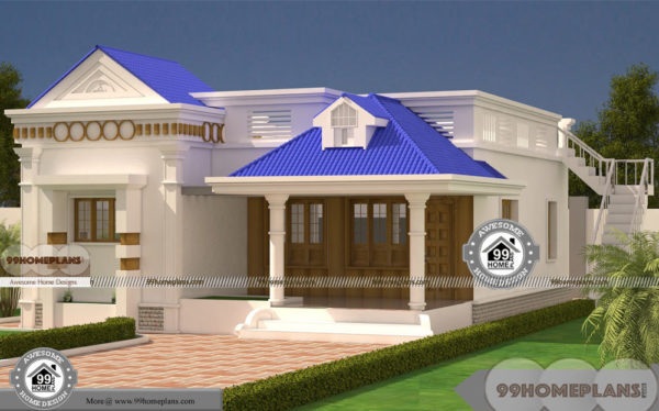 1 Story Modern House Plans with 3D Elevation Design Collections Online