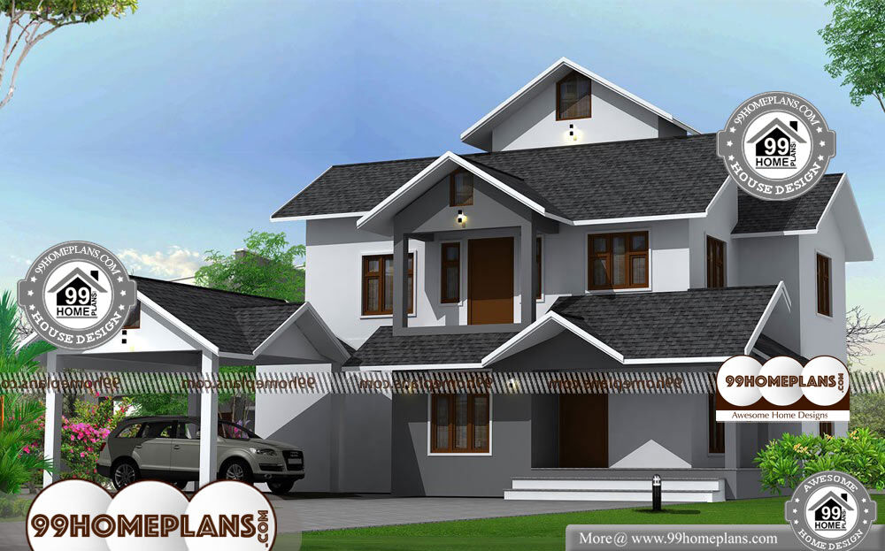 2 floor house with simple kerala style traditional model home drawings
