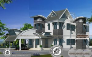 2 Floor House Design With Terrace with Stainless Steel Railing on Back