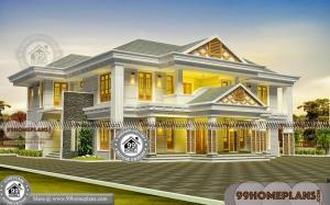 2 Floor House Plans with Traditional Bungalow Design Collections Online