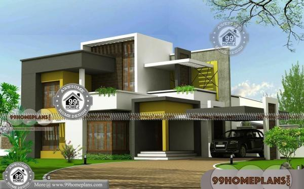 2 story modern house plans with contemporary flat roof model homes