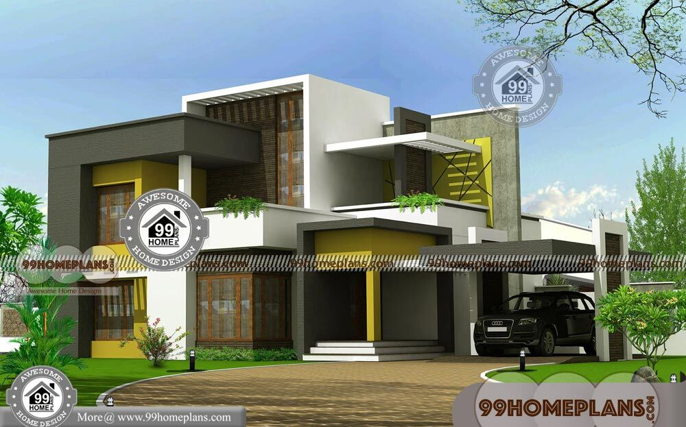2 Story Modern House Plans With Contemporary Flat Roof
