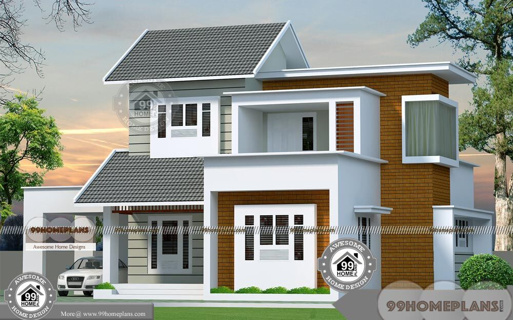 3 bedroom 2 story house plans and eye catching balcony for Simple modern two story house design