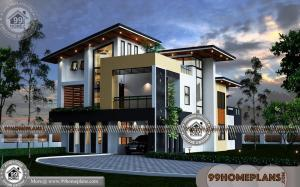 4 BHK House Plan with Double Storied Contemporary Modern Home Ideas
