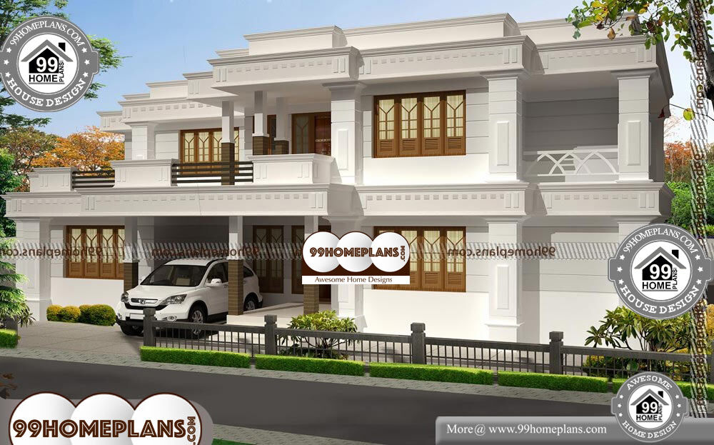 Bungalow home plans with double story modern flat roof for 2500 sqft 2 story house plans