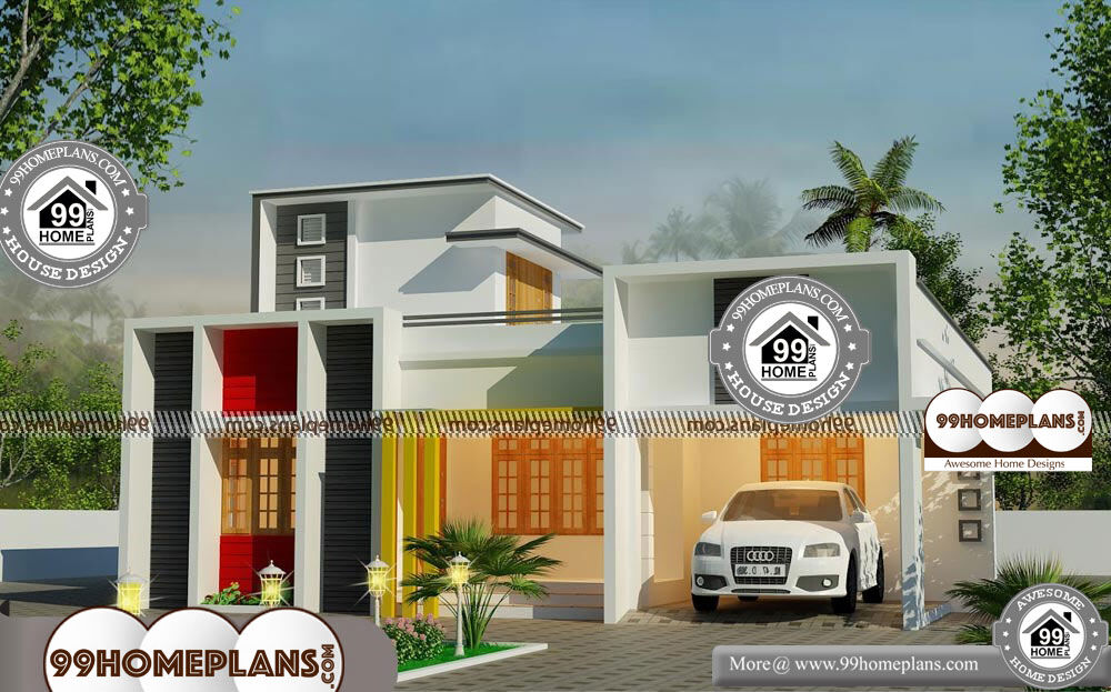 Contemporary One Story House Plans - Single Story 1253 sqft-Home