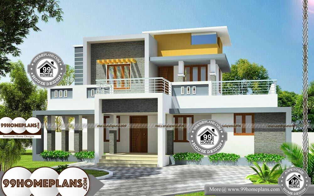 Flat Roof House Plans - 2 Story 2200 sqft-Home
