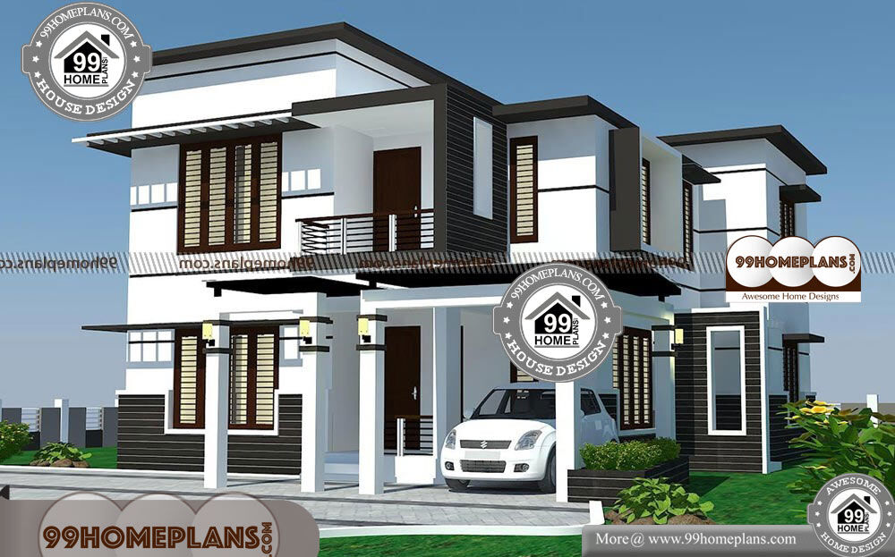 Modern 4 bedroom house plans with 2 story floor plans of for 2500 sqft 2 story house plans