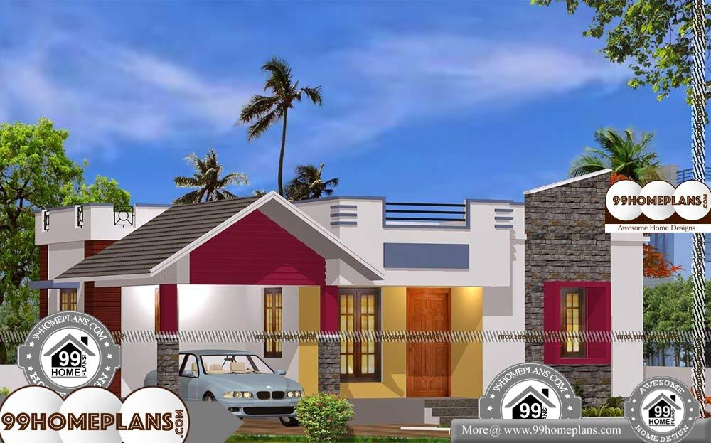 One Level Modern House Plans - Single Story 900 sqft-Home