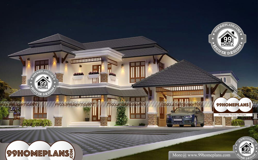 Traditional Home Plans With Front Porch - 2 Story 3012 sqft-Home