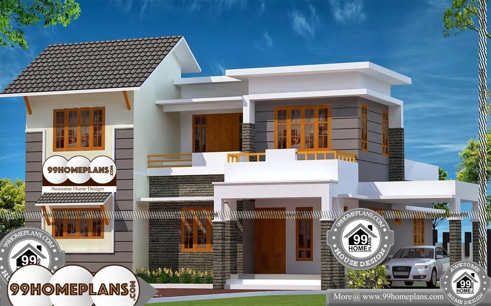 Two Storey House With Balcony and Conventional Design ...