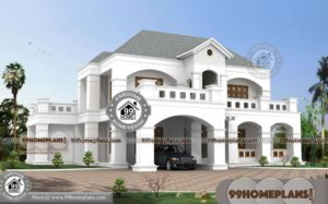 Architectural Design 5 Bedroom Bungalow with Two Floor Gabbled Plans
