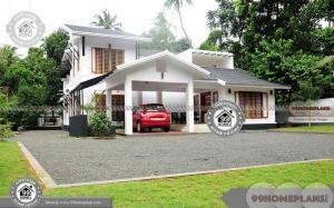 Basic 2 Story House Plans with Modern Fusion Style Sloped Roof Designs