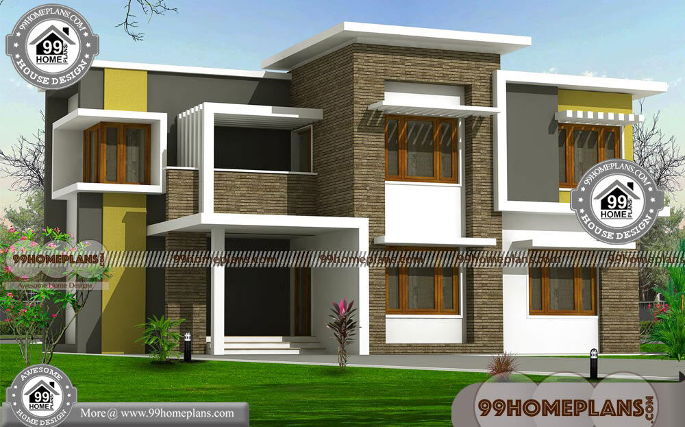 Contemporary Flat Roof House Plans With Two Story Modern Collections