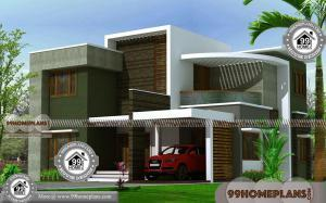 Contemporary House Plans Flat Roof with Two Floor Well Suited Exteriors