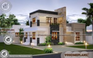 Contemporary House Plans Two Story with Flat Roof New Indian Designs