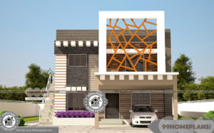 Duplex House Design In Bangalore with Home Plan Elevation of 2 Story