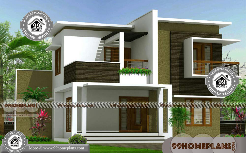 Flat Roof Contemporary House Plans with 2 Floor Modern ...