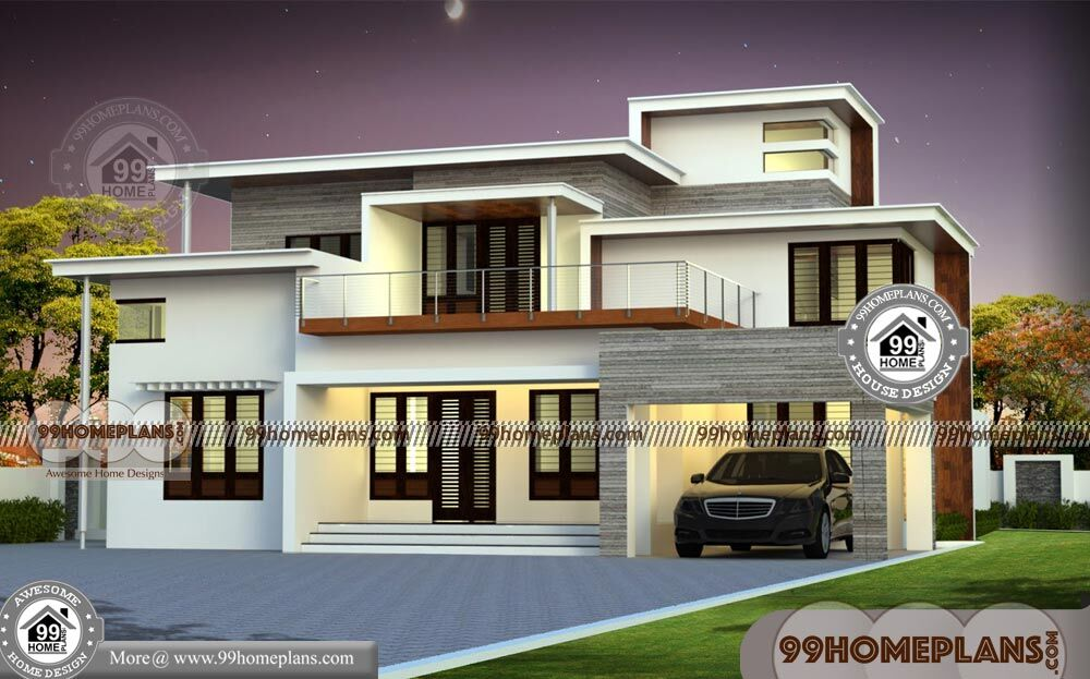 Flat Top House Plans with Double Floor Ultra Modern Simple ...