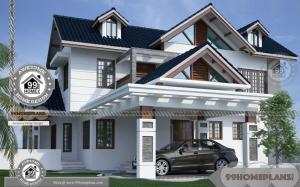 Front View Of Double Story House with Ultra Modern Pyramidal Style Plan